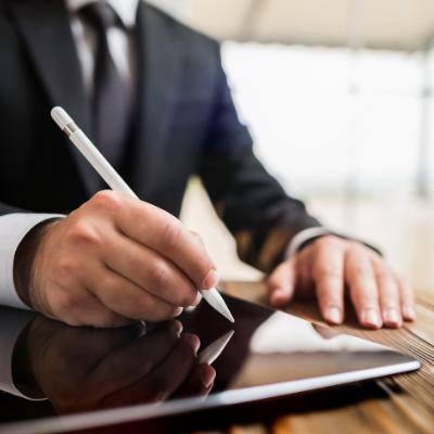 E-signature - digital pen signing - Man